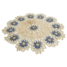 "Lovely  19"" Crocheted Doily"