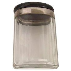 Antique Faux Tortoise Sliver Cut Crystal  Jar ~ Stunning Oval  Shape
