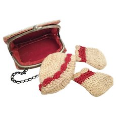 Miniature Mother of Pearl Souvenir Purse  wi Tiny Doll Hat and Booties          =WAREHOUSE CLEAN OUT=