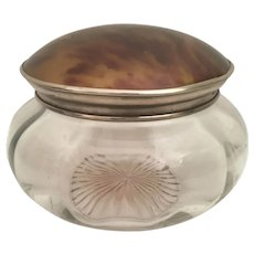 Big Antique Dome Top Tortoise Silver and Cut Glass Vanity Jar