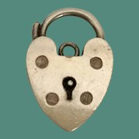 Vintage Silver HEART Lock Charm Pendant