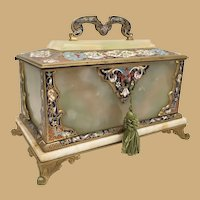 """9"""" 19C French Bronze Champlevé Onyx Casket with a Handle ~  Divine Bronze Champleve and Onyx Hinged Casket Box ~ Exquisite Champlevé Colors ~  Bronze Footed Base and Locking Key."""