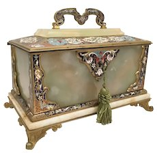 "9"" 19C French Bronze Champlevé Onyx Casket with a Handle ~  Divine Bronze Champleve and Onyx Hinged Casket Box ~ Exquisite Champlevé Colors ~  Bronze Footed Base and Locking Key."