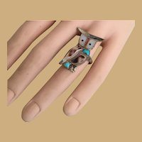 Sterling Turquoise Mother of Pearl OWL RING ~  Owl  with  Personality!    =WAREHOUSE CLEAN OUT=