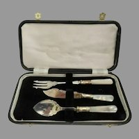 """Vintage Silver """"Mother of Pearl"""" Condiment  ~ Three Piece Service Set ~"""