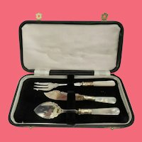 "Vintage Silver ""Mother of Pearl"" Condiment  ~ Three Piece Service Set ~"