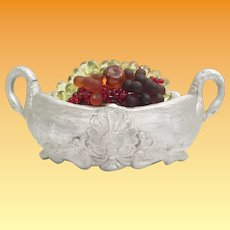 1920 Czechoslovakia Beautiful Glass Fruit Swan Double Handle Jardinière   ~  AS IS ~ Good Wiring ~ Ready to Plug in and Love
