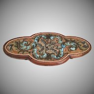 """Lovely 24"""" Antique English Beaded Tray…AS IS!"""