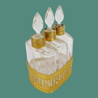 "19C French Scent Caddy "" EMPIRE STYLE  ""  ~    Gilt Ormolu Holder for Three Beautiful Gilt  Collared Scent Bottles"
