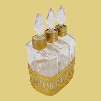 """19C French Scent Caddy """" EMPIRE STYLE  """"  ~    Gilt Ormolu Holder for Three Beautiful Gilt  Collared Scent Bottles"""