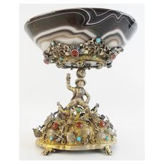 Antique Austrian Figural Silver Jeweled and Agate Compote ~ Magnificent Heavy Jeweled~  Exquisite Agate Bowl ~ It is a PRIZE!