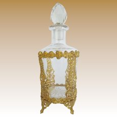 """7"""" Antique French Crystal Gilt Ormolu Perfume ~ Magnificent Footed Gilt Ormolu and Big Cut Crystal Stopper ~ A BEAUTY from My Treasure Vault"""