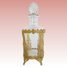"7"" Antique French Crystal Gilt Ormolu Perfume ~ Magnificent Footed Gilt Ormolu and Big Cut Crystal Stopper ~ A BEAUTY from My Treasure Vault"
