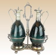 Beautiful  PAIR Antique Claret Jugs in a Silver Holder Stand ~ Footed Base ~  A Very Elegant Set from My Treasure Vault.