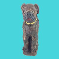 "15""Antique Carved Dog Tantalus ~ A Delightful Carved Dog with Yellow Collar to Hold a Bottle of Your Favorite Beverage ~ Yellow Collar has Metal Studs ~ Great Painted EYES"