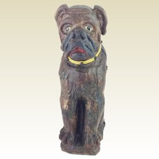 """15""""Antique Carved Dog Tantalus ~ A Delightful Carved Dog with Yellow Collar to Hold a Bottle of Your Favorite Beverage ~ Yellow Collar has Metal Studs ~ Great Painted EYES"""