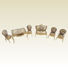 Pretty Enamel Miniature Set ~ 6 Wonderful Pieces  ~  Enamel Miniature Set Includes Table with Drawer, Two Arm Chairs, Two Side Chairs, and Settee