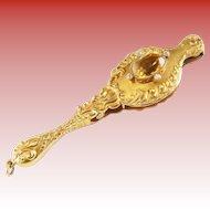 "Victorian  4 ½"" 14KARAT Yellow Gold, Diamond, and Topaz Victorian Lorgnette"