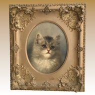 19C Cat Oil Painting on Canvas ~ A Delightful Portrait of a Precious Cat. ~ Signed M Cockett Painted on a G. Rowney London Canvas