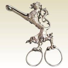 GRANDEST Antique Silver Sugar Nips ~ A REGAL MAJESTY Lion ~ 76 grams ~  Truly A Wonderful Sterling Prize from My Treasure Vault