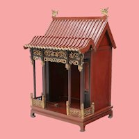 19c   Red Pagoda Lacquered Parcel Gilt Altar Shrine ~ The Peak Roof has Dragon Accents ~ Resting on Hoof Feet
