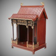 RARE Antique  Red Pagoda Lacquered Parcel Gilt Altar Shrine ~ The Peak Roof has Dragon Accents ~ Resting on Hoof Feet