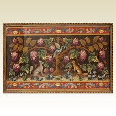 Delightful Antique English Embroidery Fragment Framed with Birds, Dogs/Foxes and Flowers ~ Absolutely Wonderful!  ~ Awesome Deep Jeweled Color in this Stunning Framed Embroidery Fragment ~  Framed with Glass