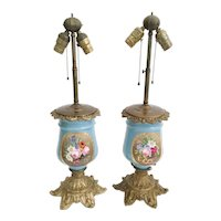 """Stunning Antique French """"Old Paris"""" Porcelain Bronze Lamps ~ Gorgeous Flowers and Pretty Bronze Base"""