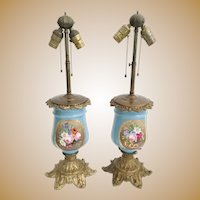 "Stunning Antique French ""Old Paris"" Porcelain Bronze Lamps ~ Gorgeous Flowers and Pretty Bronze Base"