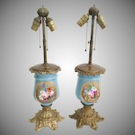 """Antique French """"Old Paris"""" Porcelain Bronze Lamps ~ Gorgeous Flowers and Pretty Bronze Base ~ Good Safe Wiring"""