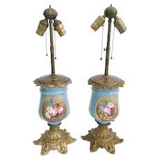 "Exquiste Antique French ""Old Paris"" Porcelain Bronze Lamps ~ Gorgeous Flowers and Pretty Bronze Base"