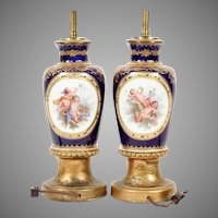 Antique  French Cobalt Blue Porcelain Urns Lamps    ~  Four Medallions of hand-painted Putti in Clouds ~ Charming Floral and Fruit Clusters
