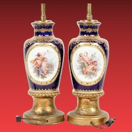 Antique  French Cobalt Blue Porcelain Urns Lamps    ~  Four Medallions of hand-painted Putti in Clouds and Floral  and Fruit Clusters
