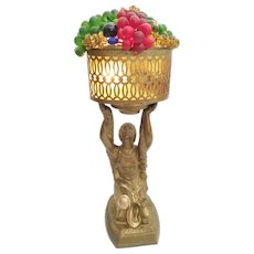1920 Czech Glass Fruit Lamp ~ Painted Metal Figurative Lamp with Glass Fruit