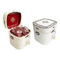 Antique Tantalus Cave a Liqueur ~ Four Cut Crystal Decanters and Twelve Glasses in a Stunning White Wood Double Handle Hinged Box