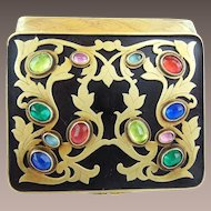 Antique French Jeweled Enamel Compact Hinged Box with Beveled Mirror ~ Lovely Engraved Sides and Enamel Back