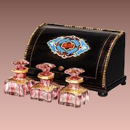 Fabulous Palais Royal Baccarat Scent Casket ~ French Ebonized Boulle Wood Box with Three Baccarat Cranberry Cut to Clear Scent Bottles