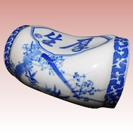Vintage Estate Blue and White Oriental Opium Pillow~ Unique Shape and Great Size ~ Porcelains with Wood Button Finials at Each End