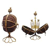 Charming Palais Royal Scent Casket   ~ Push the Top Finial and The Casket Pops Open to Display Two Stunning Case Glass Bottles with Gilt Metal Tops
