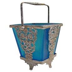 Magnificent Antique French Blue Art Glass Bon Bon Sweetmeat Dish ~  A Delightful Gilt Ormolu Blue Glass Basket with an Ornate Handle