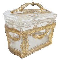 Glorious Antique French Empire Style Casket Box with Exquisite Handle ~  Antique French Empire Style Casket with Magnificent Gilt Ormolu