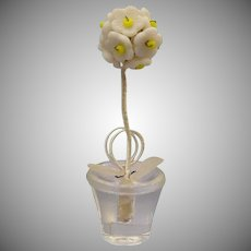 """8 Czechoslovakia Place Card Holders """"Topiary Tree Shape"""" ~ A Glass Pot with White Glass Flowers ~   Marked: MADE IN CZECHOSLOVAKIA in original display box"""