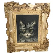 Antique  Grey Tabby Cat  Paint A Oil on a Board in Old Gold  Frame ~ WOW!  A  Darling Tabby Cat