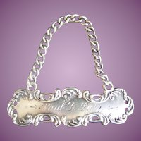 """Antique Sterling Tag ~ A Stunning Plaque """"Paul D. Lutz"""" ~  Marked Sterling ~ Beautiful Ornate  Border"""