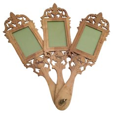 Charming Three Hand carved Wood BIRD Frames
