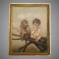 """Antique  Oil Painting  on Canvas """"Baby with Monkey"""" ~ The Baby is Eating a Piece of Fruit and Seated Next to a  Monkey  ~ Painting is Signed and Dated """"C. L. Porter 1873"""""""