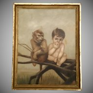 "Antique Oil Painting  on Canvas ""Baby with Monkey"" ~ The Baby is Eating a Piece of Fruit and Seated Next to a  Monkey  ~ Painting is Signed and Dated ""C. L. Porter 1873"""