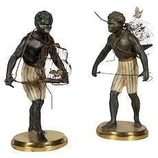 PAIR  Blackamoor Painted Metal  with Wire Bird Cages