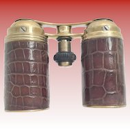 """Rare Alligator Fold Up Opera Glasses ~ They Unique and Rare ~ They Fold together to Make a 4 ½"""" x  1 ¼"""" Cylinder that will tuck in a pocket"""
