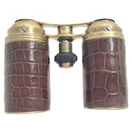 "Rare Alligator Fold Up Opera Glasses ~ They Unique and Rare ~ They Fold together to Make a 4 ½"" x  1 ¼"" Cylinder that will tuck in a pocket"